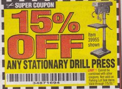 Harbor Freight Coupon 15 percent off coupon expires: 7/5/20