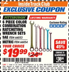 Harbor Freight ITC Coupon 6 PIECE COLOR COMBINATION RATCHETING WRENCH SETS Lot No. 66053/66054 Expired: 8/31/18 - $19.99