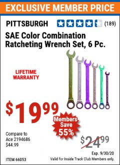 Harbor Freight ITC Coupon 6 PIECE COLOR COMBINATION RATCHETING WRENCH SETS Lot No. 66053/66054 Expired: 9/30/20 - $19.99