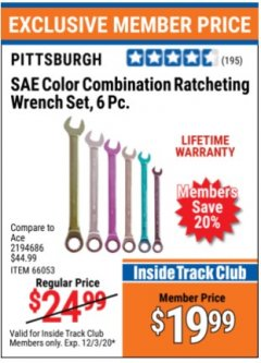Harbor Freight ITC Coupon 6 PIECE COLOR COMBINATION RATCHETING WRENCH SETS Lot No. 66053/66054 Valid Thru: 12/3/20 - $19.99