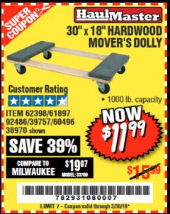 Harbor Freight Coupon 1000 LB. CAPACITY MOVER'S DOLLY Lot No. 38970/61897 Expired: 3/30/19 - $11.99