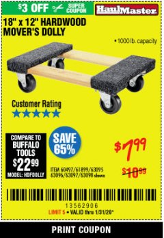 Harbor Freight Coupon 1000 LB. CAPACITY MOVER'S DOLLY Lot No. 38970/61897 Expired: 1/31/20 - $7.99