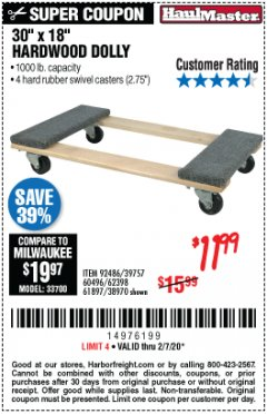 Harbor Freight Coupon 1000 LB. CAPACITY MOVER'S DOLLY Lot No. 38970/61897 Expired: 2/7/20 - $11.99
