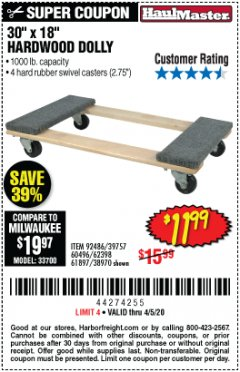 Harbor Freight Coupon 1000 LB. CAPACITY MOVER'S DOLLY Lot No. 38970/61897 Expired: 6/30/20 - $11.99