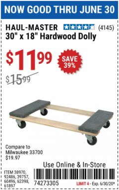 Harbor Freight Coupon 1000 LB. CAPACITY MOVER'S DOLLY Lot No. 38970/61897 Expired: 4/30/20 - $11.99