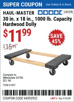 Harbor Freight Coupon 1000 LB. CAPACITY MOVER'S DOLLY Lot No. 38970/61897 Expired: 9/30/20 - $11.99