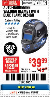 Harbor Freight Coupon AUTO-DARKENING WELDING HELMET WITH BLUE FLAME DESIGN Lot No. 91214/61610/63122 Expired: 5/27/18 - $39.99
