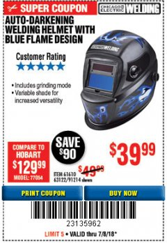 Harbor Freight Coupon AUTO-DARKENING WELDING HELMET WITH BLUE FLAME DESIGN Lot No. 91214/61610/63122 Expired: 7/8/18 - $39.99