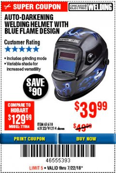 Harbor Freight Coupon AUTO-DARKENING WELDING HELMET WITH BLUE FLAME DESIGN Lot No. 91214/61610/63122 Expired: 7/22/18 - $39.99