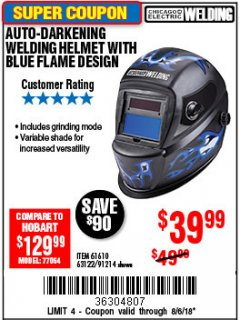 Harbor Freight Coupon AUTO-DARKENING WELDING HELMET WITH BLUE FLAME DESIGN Lot No. 91214/61610/63122 Expired: 8/6/18 - $39.99
