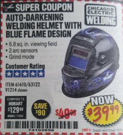 Harbor Freight Coupon AUTO-DARKENING WELDING HELMET WITH BLUE FLAME DESIGN Lot No. 91214/61610/63122 Expired: 10/31/18 - $39.99