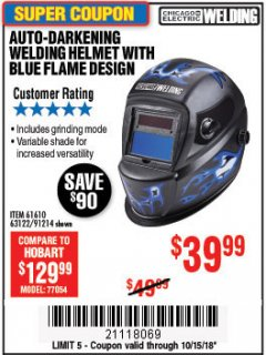 Harbor Freight Coupon AUTO-DARKENING WELDING HELMET WITH BLUE FLAME DESIGN Lot No. 91214/61610/63122 Expired: 10/15/18 - $39.99