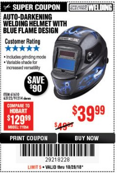 Harbor Freight Coupon AUTO-DARKENING WELDING HELMET WITH BLUE FLAME DESIGN Lot No. 91214/61610/63122 Expired: 10/28/18 - $39.99