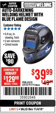 Harbor Freight Coupon AUTO-DARKENING WELDING HELMET WITH BLUE FLAME DESIGN Lot No. 91214/61610/63122 Expired: 11/4/18 - $39.99