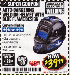 Harbor Freight Coupon AUTO-DARKENING WELDING HELMET WITH BLUE FLAME DESIGN Lot No. 91214/61610/63122 Expired: 11/30/18 - $39.99