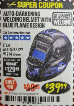 Harbor Freight Coupon AUTO-DARKENING WELDING HELMET WITH BLUE FLAME DESIGN Lot No. 91214/61610/63122 Expired: 12/31/18 - $39.99