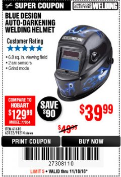 Harbor Freight Coupon AUTO-DARKENING WELDING HELMET WITH BLUE FLAME DESIGN Lot No. 91214/61610/63122 Expired: 11/18/18 - $39.99