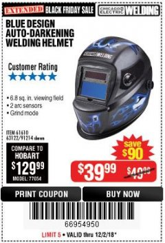 Harbor Freight Coupon AUTO-DARKENING WELDING HELMET WITH BLUE FLAME DESIGN Lot No. 91214/61610/63122 Expired: 12/2/18 - $39.99