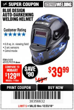 Harbor Freight Coupon AUTO-DARKENING WELDING HELMET WITH BLUE FLAME DESIGN Lot No. 91214/61610/63122 Expired: 12/23/18 - $39.99