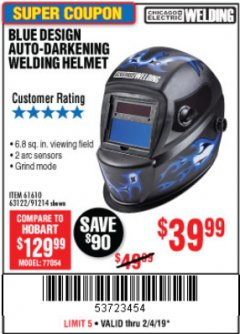 Harbor Freight Coupon AUTO-DARKENING WELDING HELMET WITH BLUE FLAME DESIGN Lot No. 91214/61610/63122 Expired: 2/4/19 - $39.99