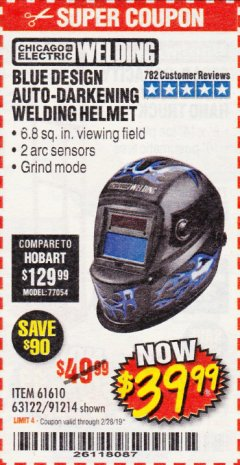 Harbor Freight Coupon AUTO-DARKENING WELDING HELMET WITH BLUE FLAME DESIGN Lot No. 91214/61610/63122 Expired: 2/28/19 - $39.99