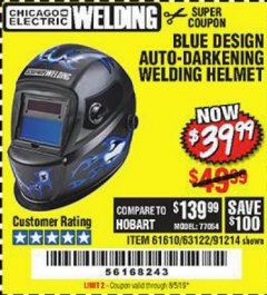Harbor Freight Coupon AUTO-DARKENING WELDING HELMET WITH BLUE FLAME DESIGN Lot No. 91214/61610/63122 Expired: 8/5/19 - $39.99