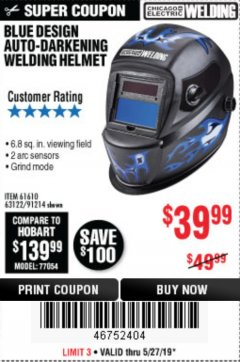 Harbor Freight Coupon AUTO-DARKENING WELDING HELMET WITH BLUE FLAME DESIGN Lot No. 91214/61610/63122 Expired: 5/31/19 - $39.99