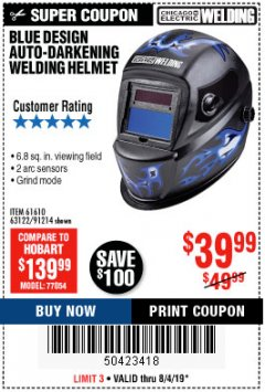 Harbor Freight Coupon AUTO-DARKENING WELDING HELMET WITH BLUE FLAME DESIGN Lot No. 91214/61610/63122 Expired: 8/4/19 - $39.99