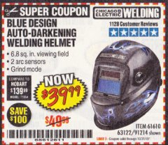 Harbor Freight Coupon AUTO-DARKENING WELDING HELMET WITH BLUE FLAME DESIGN Lot No. 91214/61610/63122 Expired: 10/31/19 - $39.99