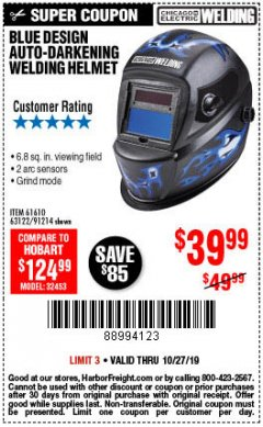 Harbor Freight Coupon AUTO-DARKENING WELDING HELMET WITH BLUE FLAME DESIGN Lot No. 91214/61610/63122 Expired: 10/27/19 - $39.99