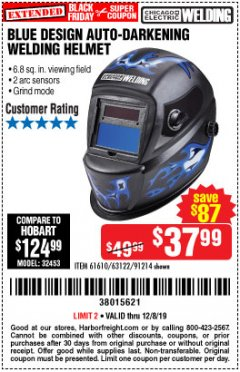 Harbor Freight Coupon AUTO-DARKENING WELDING HELMET WITH BLUE FLAME DESIGN Lot No. 91214/61610/63122 Expired: 12/8/19 - $37.99