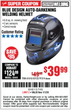 Harbor Freight Coupon AUTO-DARKENING WELDING HELMET WITH BLUE FLAME DESIGN Lot No. 91214/61610/63122 Expired: 1/1/20 - $39.99