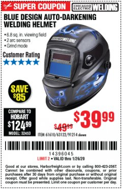 Harbor Freight Coupon AUTO-DARKENING WELDING HELMET WITH BLUE FLAME DESIGN Lot No. 91214/61610/63122 Expired: 1/26/20 - $39.99