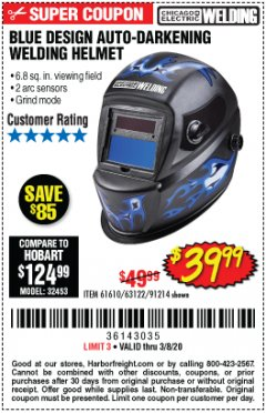 Harbor Freight Coupon AUTO-DARKENING WELDING HELMET WITH BLUE FLAME DESIGN Lot No. 91214/61610/63122 Expired: 2/8/20 - $39.99