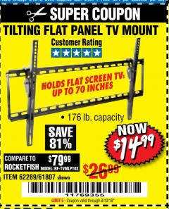 Harbor Freight Coupon TILTING FLAT PANEL TV MOUNT Lot No. 64355/64356 Expired: 8/10/18 - $14.99