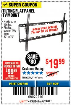 Harbor Freight Coupon TILTING FLAT PANEL TV MOUNT Lot No. 64355/64356 Expired: 6/24/18 - $19.99