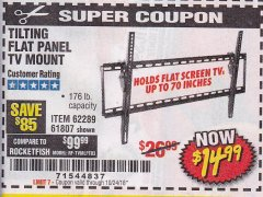 Harbor Freight Coupon TILTING FLAT PANEL TV MOUNT Lot No. 64355/64356 Expired: 10/24/18 - $14.99