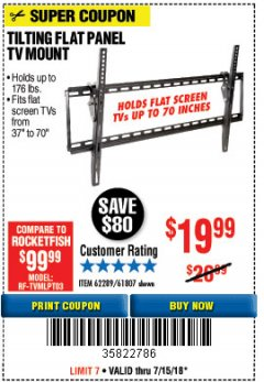 Harbor Freight Coupon TILTING FLAT PANEL TV MOUNT Lot No. 64355/64356 Expired: 7/15/18 - $19.99