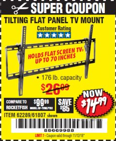 Harbor Freight Coupon TILTING FLAT PANEL TV MOUNT Lot No. 64355/64356 Expired: 11/12/18 - $14.99