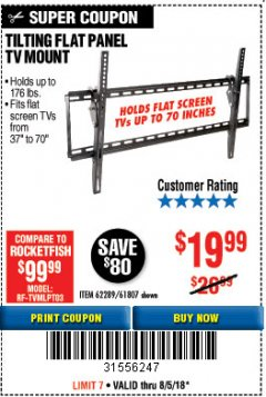 Harbor Freight Coupon TILTING FLAT PANEL TV MOUNT Lot No. 64355/64356 Expired: 8/5/18 - $19.99