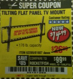 Harbor Freight Coupon TILTING FLAT PANEL TV MOUNT Lot No. 64355/64356 Expired: 11/1/18 - $14.99