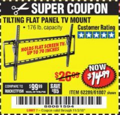 Harbor Freight Coupon TILTING FLAT PANEL TV MOUNT Lot No. 64355/64356 Expired: 11/3/18 - $14.99