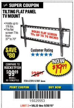 Harbor Freight Coupon TILTING FLAT PANEL TV MOUNT Lot No. 64355/64356 Expired: 9/30/18 - $19.99