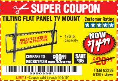 Harbor Freight Coupon TILTING FLAT PANEL TV MOUNT Lot No. 64355/64356 Expired: 1/16/19 - $14.99