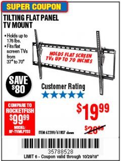 Harbor Freight Coupon TILTING FLAT PANEL TV MOUNT Lot No. 64355/64356 Expired: 10/29/18 - $19.99