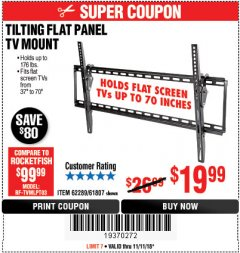 Harbor Freight Coupon TILTING FLAT PANEL TV MOUNT Lot No. 64355/64356 Expired: 11/11/18 - $19.99