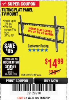 Harbor Freight Coupon TILTING FLAT PANEL TV MOUNT Lot No. 64355/64356 Expired: 11/18/18 - $14.99