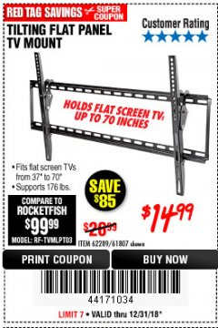 Harbor Freight Coupon TILTING FLAT PANEL TV MOUNT Lot No. 64355/64356 Expired: 12/31/18 - $14.99