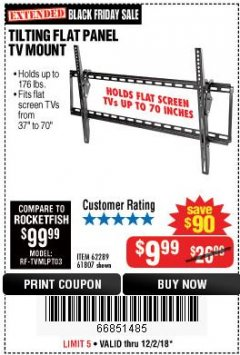 Harbor Freight Coupon TILTING FLAT PANEL TV MOUNT Lot No. 64355/64356 Expired: 12/2/18 - $9.99