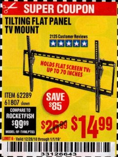 Harbor Freight Coupon TILTING FLAT PANEL TV MOUNT Lot No. 64355/64356 Expired: 1/1/19 - $14.99